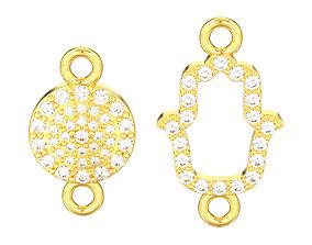 3D print model Two diamond necklace pendant hamsa and evil