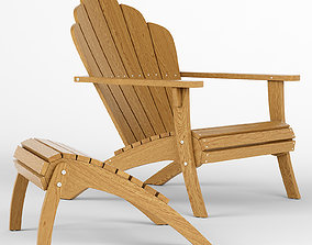 3D model Adirondack footstool and chair