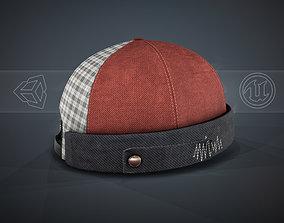 Red Jeans Brimless Cap 3D asset