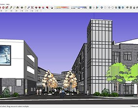 3D model Sketchup Commercial and office complex E1