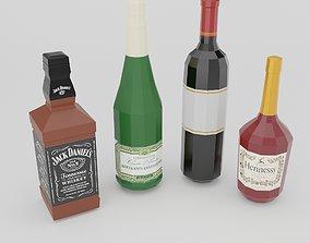 3D asset Low poly set of 4 bottles
