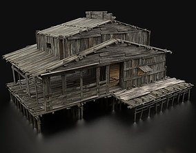 AAA SWAMP WETLAND FANTASY MEDIEVAL WOODEN HOUSE 3D model 1