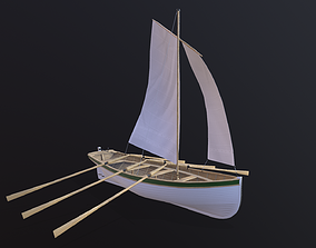Wooden boat Yal-6 3D asset game-ready
