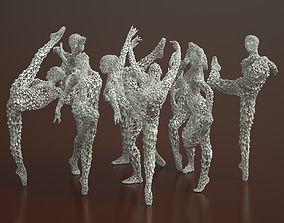 3D 9 Ballerina Dancer Abstract Sculptures