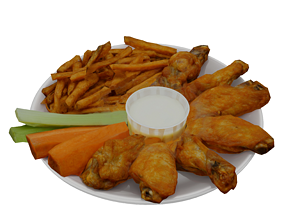 3D asset Traditional breaded wings with fries and cheese