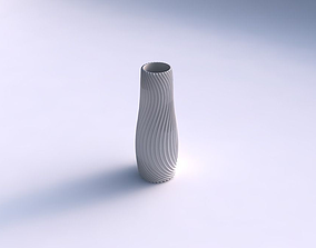 3D print model Vase with wavy extruded lines 4