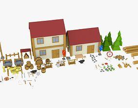 low poly village 3D model