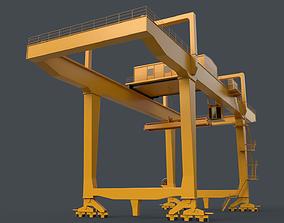 PBR Rail Mounted Gantry Crane RMG V1 - Yellow 3D asset