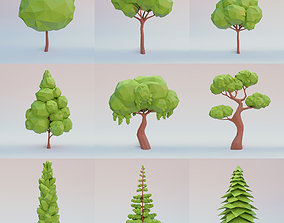 Tree set 3D asset