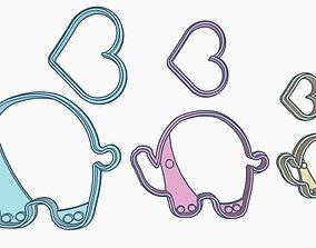 Elephant Cookie Cutter Set 3D print model