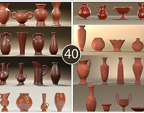Large collection of 40 earthenware jugs ready for 3D