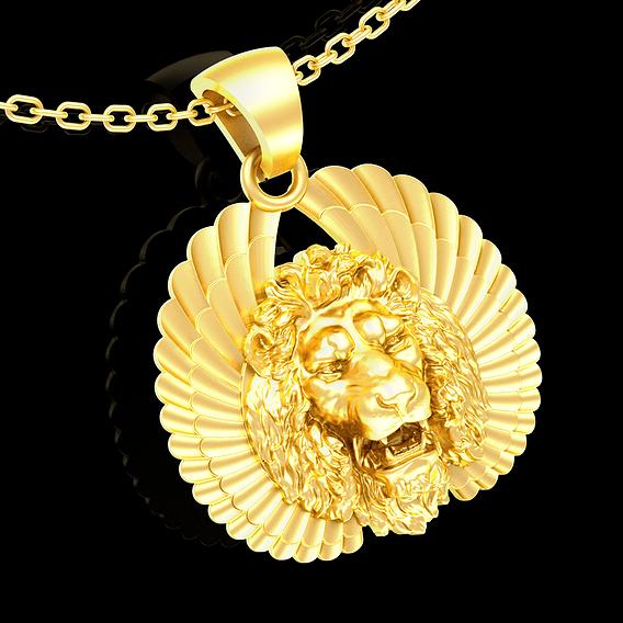 Head Lion wing Sculpture pendant jewelry gold necklace medallion 3D print model