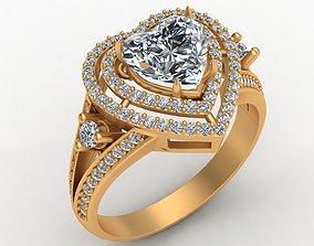 Heart Gem Engagement Diamond Gold Ring 3D printable model
