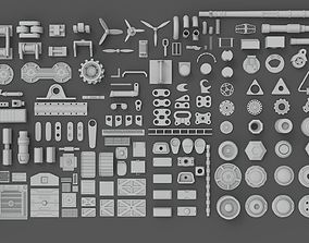 3D Hard Surface Sci-Fi Industrial KitBash Library 01