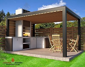 rigged furniture outdoor kitchen barbecue 3D
