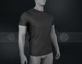 3D asset Slim Fit Black T-Shirt