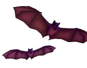 Cartoon Lowpoly Bat Illustration 3D model low-poly