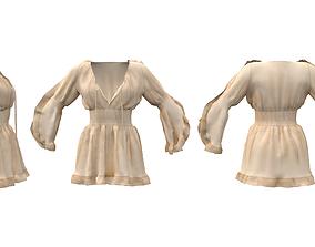 Trumpet Sleeve Flouncing Tunic Dress 3D asset