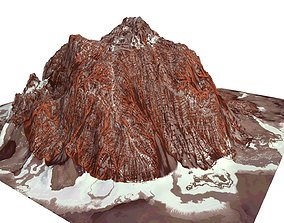 3D model Red Snow ICE Mountain Canyon Desert Low Poly 2
