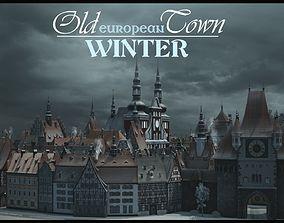 3D asset Old European Town Winter