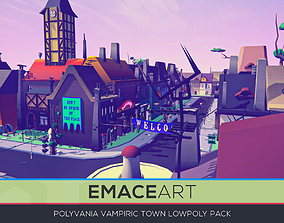 3D model PolyVania Vampiric Town LowPoly Unity Pack