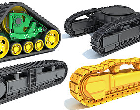 3D model Bulldozer Excavator Track Set