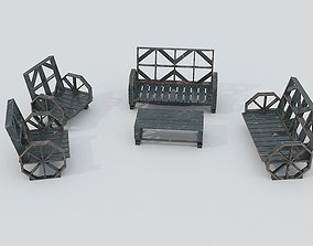 3D model Wooden Bench and Table PBR