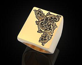 Organic monograms ring pattern 3D printable model