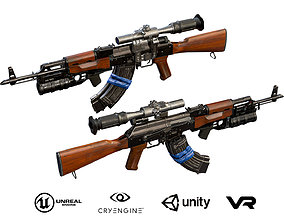 AK-47 with PSO-1 and GP-34 3D model