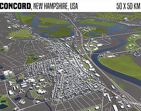 3D Concord New Hampshire USA 50x50km