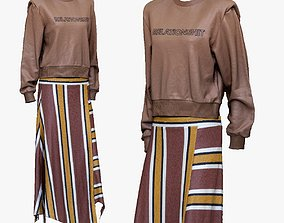 001283 pinkbrown blouse and yellow lined skirt 3D model