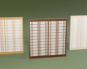 3D asset Japanese Shoji with designed lattice