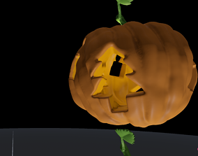 Christmas Themed Carved Halloween Jack O Lantern 3D