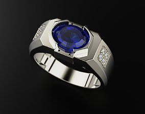3D printable model Mens ring with precious stones