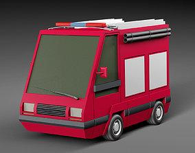 3D asset Cartoon Fire engine