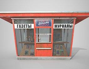 3D asset Soviet Newspapers Kiosk Souzpechat PBR