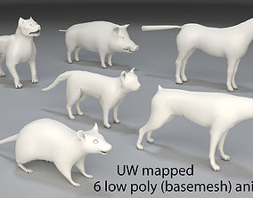 3D model game-ready Animals-6 peaces-low poly-part 1