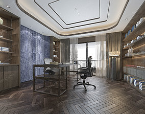 modern luxury chinese study working room 3D