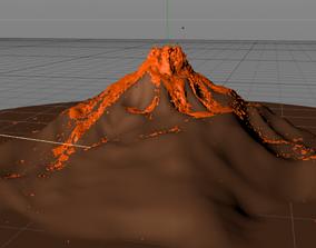 3D model Fast Scale Valcano Lava Simulation