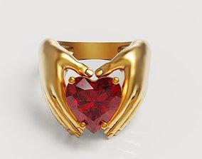 3D print model Heart Hand Ring