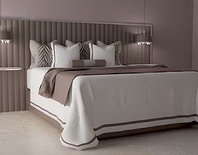 3D model Bed with bedclothes