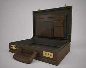 Leather Attach Briefcase Rigged 3D