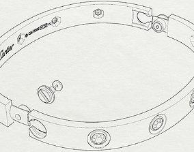 gem bracelet love 3D printable model