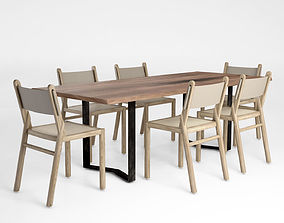 3D model Jardan Brooklyn chair and River Table