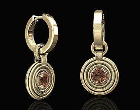 3D printable model rounds earrings with hoop