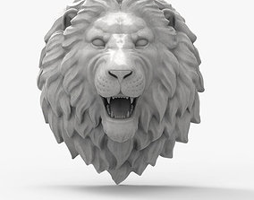 lion head scupture 3D model game-ready