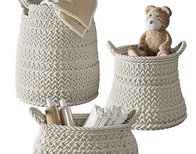 Pottery Barn Ivory Chunky Knit Nursery Storage 3D