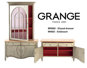 Grange GLAZED DRESSER and SIDEBOARD 3D