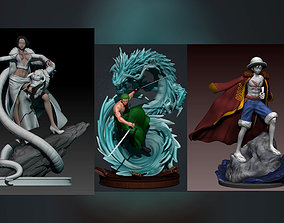 one piece 3d print collection - luffy zoro and boa