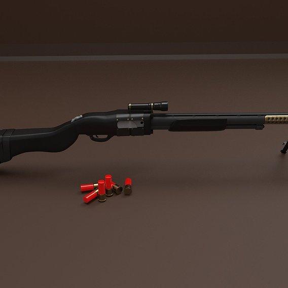 Shotgun Type with Shells 3D model  Gun type Shotgun